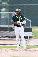 Oakland Athletics outfielder Jameson Hannah (53) adjusts his batting gloves during an exhibition game against Team Italy at Lew Wolff Training Complex on October 3, 2018 in Mesa, Arizona. (Zachary Lucy/Four Seam Images)