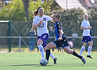 Tine De Caigny (6) of Anderlecht pictured with Jody Vangheluwe (22) of Club Brugge during a female soccer game between Club Brugge Dames YLA and RSC Anderlecht on the fourth matchday in Play-Off 1 of the 2020 - 2021 season of Belgian Scooore Womens Super League , saturday 1st May 2021  in Brugge , Belgium . PHOTO SPORTPIX.BE | SPP | DAVID CATRY