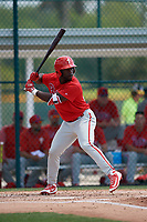 Philadelphia Phillies James Smith (22) during a minor league Spring Training game against the Pittsburgh Pirates on March 13, 2019 at Pirate City in Bradenton, Florida.  (Mike Janes/Four Seam Images)