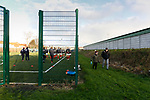 Blyth fans watching the teams go through their warm ups on an astroturf 5 a side pitch. Blyth Spartans v Brackley Town, 30112019. Croft Park, National League North. Photo by Paul Thompson.