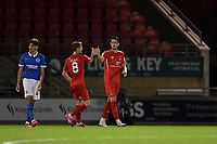 Conor Wilkinson of Leyton Orient celebrates after scoring during the EFL Trophy behind closed doors match between Leyton Orient and Brighton & Hove Albion Under 21s at the Matchroom Stadium, London, England played without supporters able to attend due to ongoing covid-19 government guidelines on 8 September 2020. Photo by Vince  Mignott.