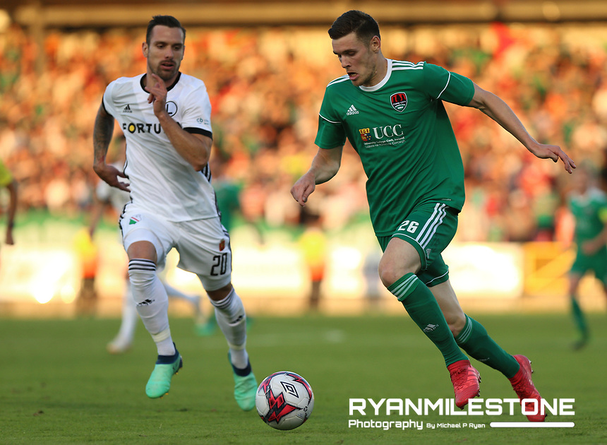 Garry Buckley of Cork City in action against Marko Vešović of Legia Warsaw during the UEFA Champions League First Qualifying Round First Leg between Cork City and Legia Warsaw on Tuesday 10th July 2018 at Turners Cross, Cork. Photo By Michael P Ryan