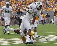 Marshall wide receiver Aaron Dobson. The WVU Mountaineers beat the Marshall Thundering Herd 34-13 in a game called just after the fourth quarter started because of severe thunderstorms in the area. The game was played at Milan Puskar Stadium in Morgantown, West Virginia on September 4, 2011.