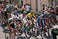 World Champion Peter Sagan (SVK/Bora-Hansgrohe) & yellow jersey / GC leader Fernando Gaviria (COL/Quick-Step Floors) together in the peloton, rolling through the town of  Réaumur<br /> <br /> Stage 2: Mouilleron-Saint-Germain > La Roche-sur-Yon (183km)<br /> <br /> Le Grand Départ 2018<br /> 105th Tour de France 2018<br /> ©kramon