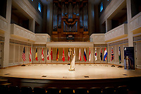 The Lyon and Healy Concert Grand Harp stands on stage during the 11th USA International Harp Competition at Indiana University in Bloomington, Indiana on Wednesday, July 3, 2019. (Photo by James Brosher)