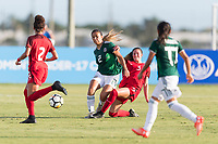 Bradenton, FL - Sunday, June 12, 2018: Reyna Reyes, Kate Wiesner during a U-17 Women's Championship Finals match between USA and Mexico at IMG Academy.  USA defeated Mexico 3-2 to win the championship.