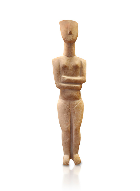 Marble female Cycladic statue figurine with folded arms of the Spedos type. Early Cycladic Period II (2800-2300 BC) from Naxos, Cat No 6195. National Archaeological Museum, Athens.   White background.<br /> <br /> <br /> This Cycladic statue figurine is of the Spedos type standing on tip tie with bended knees and arms folded under the breasts with head raiised.