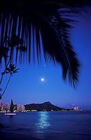 Moonrise over Diamond Head from Waikiki