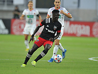 WASHINGTON, DC - JULY 7: Nanan Houssou #97 of D.C. United moves the ball during a game between Liga Deportiva Alajuense  and D.C. United at Audi Field on July 7, 2021 in Washington, DC.