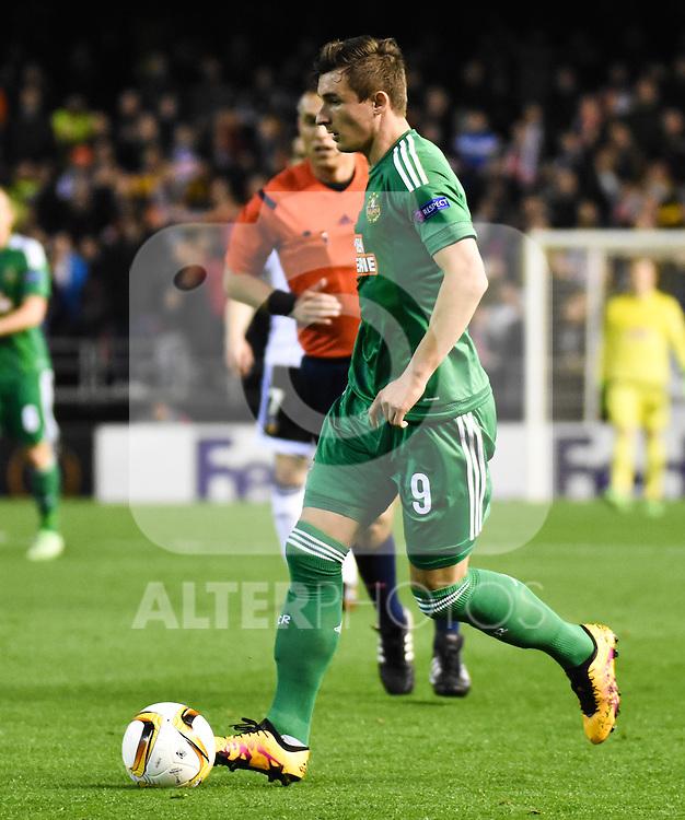 Rapid Wien's Matej Jelic  during Uefa Europa League match. February 18, 2016. (ALTERPHOTOS/Javier Comos)