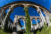 Fisheye of the French Versailles Garden cloister under a blue sky, a real 12th-century French monastery moved over to Paradise Island, Nassau, Bahamas