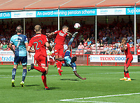 Aaron Pierre of Wycombe Wanderers tries an overhead kick during the Sky Bet League 2 match between Crawley Town and Wycombe Wanderers at Broadfield Stadium, Crawley, England on 6 August 2016. Photo by Alan  Stanford / PRiME Media Images.