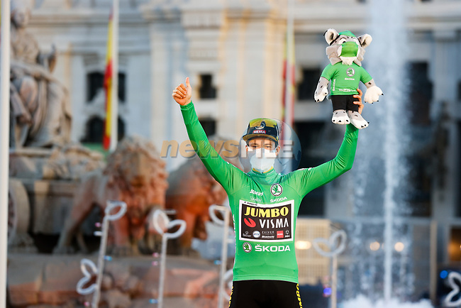 Primoz Roglic (SLO) Team Jumbo-Visma wins the overall general classification and also the points Green Jersey at the end of Stage 18 of the Vuelta Espana 2020, running 139.6km from Hipódromo de La Zarzuela to Madrid, Spain. 8th November 2020. <br /> Picture: Luis Angel Gomez/PhotoSportGomez | Cyclefile<br /> <br /> All photos usage must carry mandatory copyright credit (© Cyclefile | Luis Angel Gomez/PhotoSportGomez)