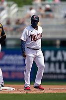 Minnesota Twins coach Tommy Watkins (40) during a Major League Spring Training game against the Pittsburgh Pirates on March 16, 2021 at Hammond Stadium in Fort Myers, Florida.  (Mike Janes/Four Seam Images)