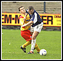 26/04/2003                   Copyright Pic : James Stewart.File Name : stewart-falkirk v ayr 13.SCOTT CHAPLAIN AND DAVIE NICHOLLS CHALLENGE FOR THE BALL........James Stewart Photo Agency, 19 Carronlea Drive, Falkirk. FK2 8DN      Vat Reg No. 607 6932 25.Office     : +44 (0)1324 570906     .Mobile  : +44 (0)7721 416997.Fax         :  +44 (0)1324 570906.E-mail  :  jim@jspa.co.uk.If you require further information then contact Jim Stewart on any of the numbers above.........