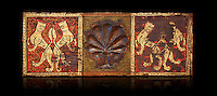 Gothic decorative painted beam panels with lions and a carved syalise tree, Tempera on wood. National Museum of Catalan Art (MNAC), Barcelona, Spain. Against a black background.