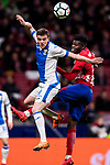 Javier Eraso Goni (L) of CD Leganes battles for the ball with Thomas Teye Partey of Atletico de Madrid  during the La Liga 2017-18 match between Atletico de Madrid and CD Leganes at Wanda Metropolitano on February 28 2018 in Madrid, Spain. Photo by Diego Souto / Power Sport Images