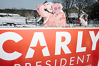 Carly Fiorina - Jeb Bush - NH Campaign - Campaign signs with pnk elephant - Derry, NH - 9 Feb 2016