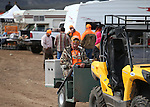 An unidentified competitor rides into the course during the U.S. Bird Dogs Western State Nationals in Mound House, Nev., on Friday, April 24, 2015. <br /> Photo by Cathleen Allison