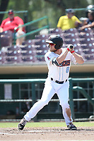 Brennon Lund (8) of the Inland Empire 66ers bats against the Visalia Rawhide at San Manuel Stadium on June 5, 2017 in San Bernardino, California. Visalia defeated Inland Empire, 9-1. (Larry Goren/Four Seam Images)