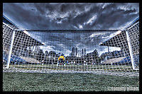 Soccer goalie in the net,Memorial Stadium, Seattle Center, Seattle