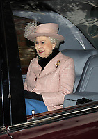 SANDRINGHAM, UNITED KINGDOM - JANUARY 02; Queen Elizabeth II, Prince Edward and Sophie Wessex join members of the Royal Family at Sunday Church service on the Sandringham Estate Norfolk.  on January 2, 2011 in Sandringham, England <br /> <br /> People:  Queen Elizabeth II