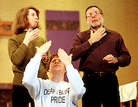 Angel (pronounced On-hel) sings in sign language with the deaf choir at St. Patricks Church.  Seattle's deaf-blind community is very proud of having  established its own language (tactual ASL) and culture, separate from the deaf community.