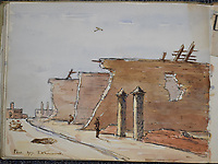 BNPS.co.uk (01202 558833)<br /> Pic: StroudAuctions/BNPS<br /> <br /> Pictured: Two soldiers among the ruins <br /> <br /> The poignant sketchbook of a World War One surgeon has been unearthed a century later.<br /> <br /> Captain Theodore Howard Somervell, of the Royal Medical Corps, treated hundreds of wounded Tommies in a field hospital at the Battle of the Somme.<br /> <br /> He was one of just four surgeons working flat-out in a tent, as scores of casualties lay dying on stretchers outside on the bloodiest in British military history.<br /> <br /> There is a sombre pencil sketch of a soldier on the operating table surrounded by a nurse and doctors. Another watercolour shows the bodies of soldiers strewn on a boggy Western Front battlefield.<br /> <br /> Capt Somervell, who was Mentioned In Despatches, drew landmarks including churches which were reduced to rubble in the deadly barrage. He also took rare photos of life on the frontline, including some taken inside an operating theatre. His sketchbook is being sold by a direct descendant with Stroud Auctions, of Gloucs.