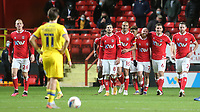 All smiles for the Charlton players as they celebrate their fifth goal and look up at the big screen to watch the replay during Charlton Athletic vs AFC Wimbledon, Sky Bet EFL League 1 Football at The Valley on 12th December 2020