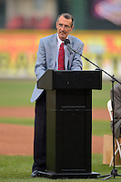 International League president Randy Mobley addresses the crowd for the introduction of former Rochester Red Wings player Don Richmond into the International League Hall of Fame before a game against the Norfolk Tides on July 27, 2013 at Frontier Field in Rochester, New York.  Rochester defeated Norfolk 4-2.  (Mike Janes/Four Seam Images)