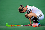 The Hague, Netherlands, June 08: Jana Teschke #4 of Germany is down in tears after loosing to the USA team after the field hockey group match (Women - Group B) between USA and Germany on June 8, 2014 during the World Cup 2014 at GreenFields Stadium in The Hague, Netherlands. Final score 4-1 (1-0) (Photo by Dirk Markgraf / www.265-images.com) *** Local caption ***