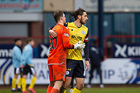 20th February 2021; Dens Park, Dundee, Scotland; Scottish Championship Football, Dundee FC versus Queen of the South; Gregor Buchanan of Queen of the South celebrates at the end of the match with Rohan Ferguson