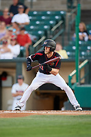 Rochester Red Wings center fielder Jeremy Hazelbaker (21) squares around to bunt a game against the Lehigh Valley IronPigs on September 1, 2018 at Frontier Field in Rochester, New York.  Lehigh Valley defeated Rochester 2-1.  (Mike Janes/Four Seam Images)