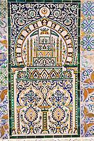 Tunis, Tunisia.  Decorative Wall Panel of Ceramic Tiles, Tunis Medina.