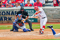 30 April 2017: Washington Nationals first baseman Ryan Zimmerman connects against the New York Mets at Nationals Park in Washington, DC. The Nationals defeated the Mets 23-5, with the Nationals setting several individual and team records, in the third game of their weekend series. Mandatory Credit: Ed Wolfstein Photo *** RAW (NEF) Image File Available ***
