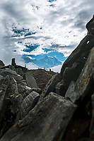 Mani stones, stupas and Everest, Lhotse, Nuptse in the background, Khumbu, Nepal