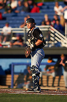 West Virginia Black Bears catcher Arden Pabst (52) during a game against the Batavia Muckdogs on June 29, 2016 at Dwyer Stadium in Batavia, New York.  West Virginia defeated Batavia 9-4.  (Mike Janes/Four Seam Images)