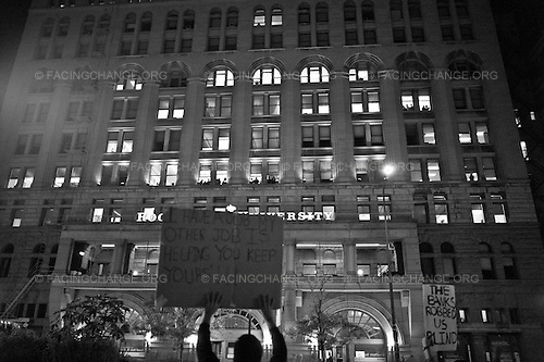 Chicago, Illinois<br /> October 4, 2011<br /> <br /> Demonstrators take part in Occupy Chicago protests  march around downtown Chicago. The protest is one of many around the country held in solidarity with the Occupy Wall Street protests currently taking place in New York City.