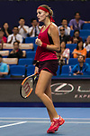 Kristina Mladenovic of France celebrates winning a point during the singles Round Robin match of the WTA Elite Trophy Zhuhai 2017 against Kristina Mladenovic of France at Hengqin Tennis Center on November  01, 2017 in Zhuhai, China.Photo by Yu Chun Christopher Wong / Power Sport Images