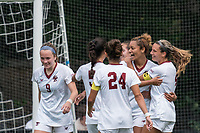 NEWTON, MA - AUGUST 29: Linda Boama #13 of Boston College celebrates her goal with teammates during a game between University of Connecticut and Boston College at Newton Campus Soccer Field on August 29, 2021 in Newton, Massachusetts.