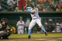 Inland Empire 66ers second baseman Jahmai Jones (8) at bat against the San Jose Giants at San Manuel Stadium on April 5, 2018 in San Bernardino, California. (Donn Parris/Four Seam Images)