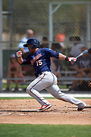 Minnesota Twins Heiker Meneses (15) during a minor league Spring Training game against the Baltimore Orioles on March 16, 2016 at CenturyLink Sports Complex in Fort Myers, Florida.  (Mike Janes/Four Seam Images)