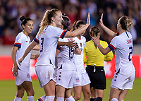 HOUSTON, TX - FEBRUARY 03: Sam Mewis #3 of the United States celebrates with Emily Sonnett #2 during a game between Costa Rica and USWNT at BBVA Stadium on February 03, 2020 in Houston, Texas.