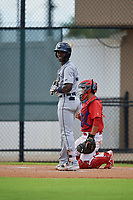 GCL Tigers West Jeremiah Burks (32) bats during a Gulf Coast League game against the GCL Phillies West on July 27, 2019 at the Carpenter Complex in Clearwater, Florida.  (Mike Janes/Four Seam Images)