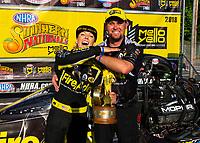 May 6, 2018; Commerce, GA, USA; NHRA top fuel driver Leah Pritchett celebrates with crew members after winning the Southern Nationals at Atlanta Dragway. Mandatory Credit: Mark J. Rebilas-USA TODAY Sports
