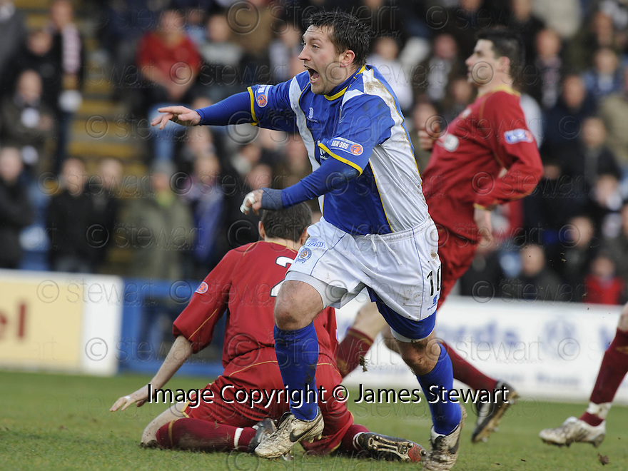 08/03/2008    Copyright Pic: James Stewart.File Name : sct_jspa10_qots_v_dundee.STEPHEN DOBBIE CELEBRATES AFTER HE SCORES THE FIRST.James Stewart Photo Agency 19 Carronlea Drive, Falkirk. FK2 8DN      Vat Reg No. 607 6932 25.Studio      : +44 (0)1324 611191 .Mobile      : +44 (0)7721 416997.E-mail  :  jim@jspa.co.uk.If you require further information then contact Jim Stewart on any of the numbers above........
