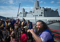 130501-N-DR144-884 COOK INLET, Alaska (May 1, 2013)- George Holly, an Athabaskan, joins Alaska Natives from villages around south central Alaska to perform as the Ida'ina Dance Group during a welcoming ceremony for San Antonio-class amphibious transport dock ship USS Anchorage (LPD 23) at the Port of Anchorage. Anchorage arrived at its namesake city of Anchorage, Alaska for its commissioning ceremony scheduled to take place May 4. (U.S. Navy photo by Mass Communication Specialist 1st Class James R. Evans / RELEASED)