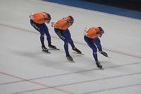 SPEEDSKATING: 07-12-2018, Tomaszów Mazowiecki (POL), ISU World Cup Arena Lodowa, Team Pursuit Men, Simon Schouten, Kars Jansman, Jorrit Bergsma, Netherlands, ©photo Martin de Jong