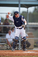 Western Connecticut Colonials catcher Bryan Harper (3) during the first game of a doubleheader against the Edgewood College Eagles on March 13, 2017 at the Lee County Player Development Complex in Fort Myers, Florida.  Edgewood defeated Western Connecticut 3-0.  (Mike Janes/Four Seam Images)