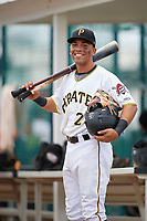 GCL Pirates left fielder John Lantigua (26) poses for a photo after the second game of a doubleheader against the GCL Yankees East on July 31, 2018 at Pirate City Complex in Bradenton, Florida.  GCL Pirates defeated GCL Yankees East 12-4.  (Mike Janes/Four Seam Images)